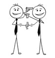 cartoon of two men handshaking smiling and vector image