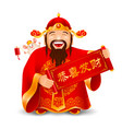 chinese god wealth and rat vector image vector image