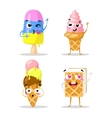 Collection sweets emotion lovely ice cream doodle vector image vector image