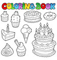 coloring book various cakes 1 vector image vector image