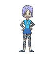 comic cartoon woman with heavy tattoos vector image vector image