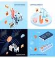 crypto currency isometric design concept vector image vector image