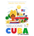 cuba and havana travel poster vector image vector image
