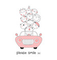 cute baanimals with car cartoon hand drawn vector image vector image