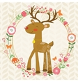 Cute dear in floral wreath vector image