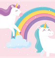 cute magical unicorns rainbow cloud dream animal vector image vector image