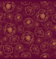 dark red seamless pattern with fall flowers vector image