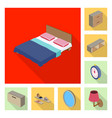 design of bedroom and room icon collection vector image