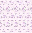 doodle moons clouds hearts stars pattern vector image