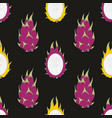Dragon fruit seamless pattern on a black vector image