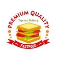 Fast food cafe and sandwich shop sign vector image