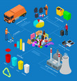 garbage recycling infographics concept 3d vector image