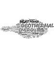 geothermal word cloud concept vector image vector image