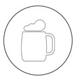 glass of beer the black color icon in circle or vector image vector image
