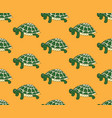 green turtle on yellow background vector image