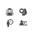 group waiting and romantic talk icons online vector image