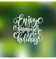 hand lettering enjoy summer holiday vector image