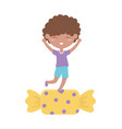 happy children day little boy in sweet candy vector image vector image