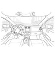 interior of electromobile with automatic gearbox vector image vector image