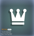 King Crown icon symbol on the blue-green abstract vector image