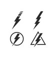 lightning bolt electricity power set vector image vector image