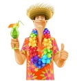 man cocktail hawaii wreath hat vector image vector image