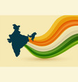 map india with tricolor waves background vector image