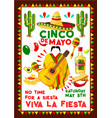 mexican poster for cinco de mayo holiday vector image vector image
