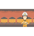 Miner checking documents vector image vector image