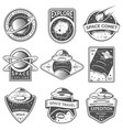 Monochrome space ufo and planet labels logos