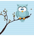 owl blue tree leaves blue vector image vector image