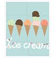 Row of summer ice cream cones vector image vector image