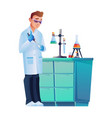 scientist with chemical flask conduct experiment vector image vector image
