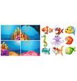 sea animals and four scenes underwater vector image
