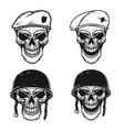 set of soldier skull in battle helmet vector image