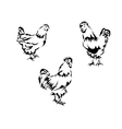 silhouette of a chicken and a rooster vector image vector image