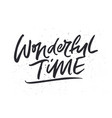 wonderful time xmas lettering vector image vector image
