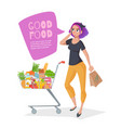 young woman talking on phone in a supermarket vector image