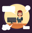 call center smiling woman worker by computer vector image