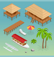 luxury overwater thatched roof bungalow bridge vector image