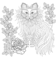 Fluffy Cat in roses zentangle style Freehand