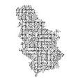 abstract schematic map of serbia from the black vector image vector image