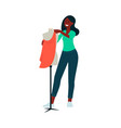 african-american woman standing near mannequin and vector image