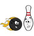 angry bowling ball vector image vector image