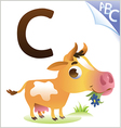 Animal alphabet for the kids C for the Cow vector image vector image