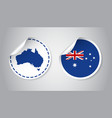 australia sticker with flag and map label round vector image