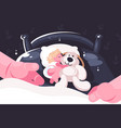 baby sleeping in crib with toy teddy bear vector image