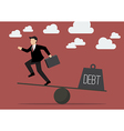 Balancing Businessman and Debt vector image vector image