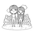 beautiful little kids in the landscape characters vector image vector image