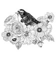 bird hand drawn in vintage style with flowers vector image vector image